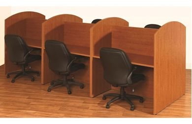 Picture of Laminate Cluster of 6 Person Telemarketing Workstation