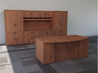 "Picture of 72"" Bowfront Office Desk Workstation with Storage Credenza"