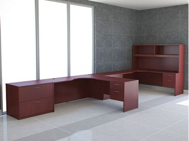 """Picture of 2 Person 66"""" L Shape Office Desk Workstation with Overhead Storage"""
