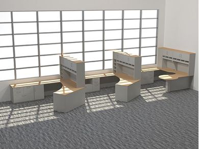 Picture of 3 Person L Shape Office Desk Workstation with Overhead Storage