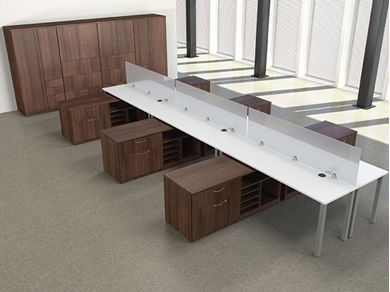 Picture of 6 Person Teaming Office Desk Workstation with Storage Cabinet