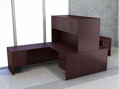 Picture of 2 Person L Shape Office Desk Workstation with Closed Overhead Storage
