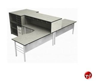 Picture of 2 Person L Shape Office Desk Workstation with Open Storage