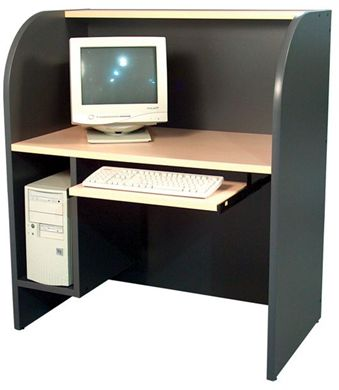 "Picture of 24"" x 42"" Telemarketing Study Carrel with CPU Holder"