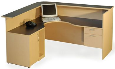 "Picture of 72"" L Shape Curve Reception Desk with CPU Holder, Filing and Storage"