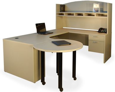 """Picture of 72"""" U Shape Office Desk with Mobile Meeting Table and Overhead Storage"""
