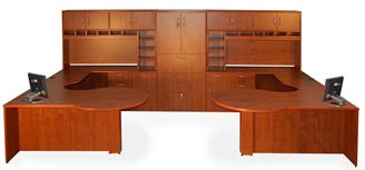 Picture of 2 Person P Top U Shape Office Desk Workstation with Closed Overhead and Lateral Bookcase Storage