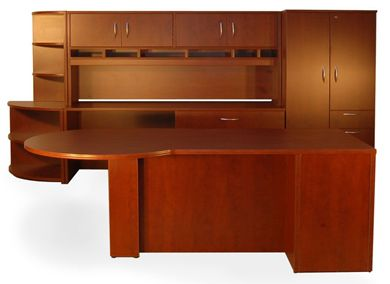 Picture of P Top Executive Office Workstation with Lateral Credenza, Wardrobe and Open Bookcase