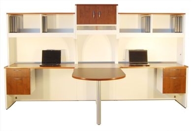 Picture of 2 Person Shared Office Desk Workstation with Filing and Overhead Storage