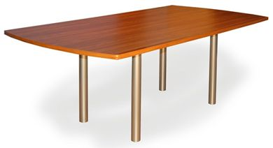 "Picture of 36"" x 96"" Boat Shape Conference Meeting Table with 4 Legs"