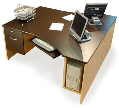 """Picture of 2 Person 66"""" Curve Office Desk Workstation with CPU Holder and Filing Cabinet"""
