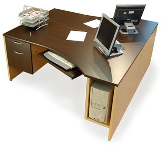 Picture Of 2 Person 72 Curve Office Desk Workstation With Cpu Holder And Filing Cabinet