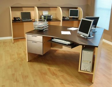 """Picture of 2 Person 66"""" Computer Desk with Cluster of 3 Person Telemarketing Cubicle Stations"""