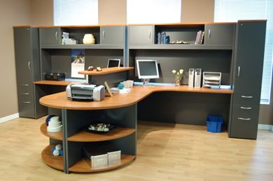 """Picture of 2 Person 72"""" L Shape Office Desk Workstation with Overhead Storage and Multi File Cabinets"""