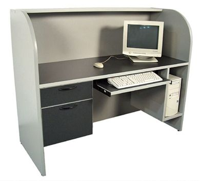 "Picture of 60"" Computer Training Cubicle Desk Station with Filing Pedestal, CPU Holder and Keyboard Tray"