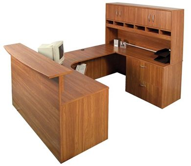 "Picture of 72"" U Shape Reception Desk Workstation with Closed Overhead Storage"