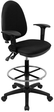 Picture of MID-BACK BLACK FABRIC MULTI-FUNCTIONAL DRAFTING STOOL WITH ARMS AND ADJUSTABLE LUMBAR SUPPORT