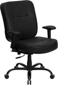 Picture of  400 LB. CAPACITY BIG AND TALL BLACK LEATHER OFFICE CHAIR WITH ARMS AND EXTRA WIDE SEAT