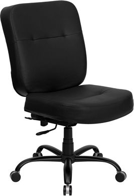 Picture of  400 LB. CAPACITY BIG & TALL BLACK LEATHER OFFICE CHAIR WITH EXTRA WIDE SEAT