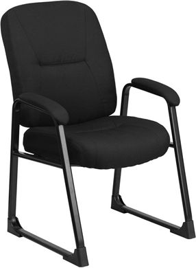 Picture of BIG & TALL 400 LB. CAPACITY BLACK FABRIC EXECUTIVE SIDE CHAIR WITH SLED BASE