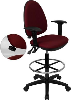 Picture of MID-BACK BURGUNDY FABRIC MULTI-FUNCTIONAL DRAFTING STOOL WITH ARMS AND ADJUSTABLE LUMBAR SUPPORT