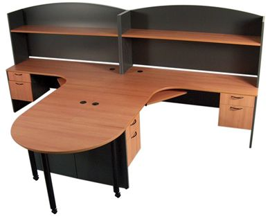 Picture of 2 Person Shared L Shape Office Desk Workstation with Overhead Storage