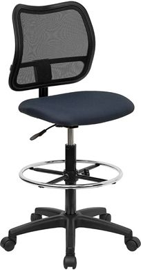 Picture of MID-BACK MESH DRAFTING STOOL WITH NAVY BLUE FABRIC SEAT