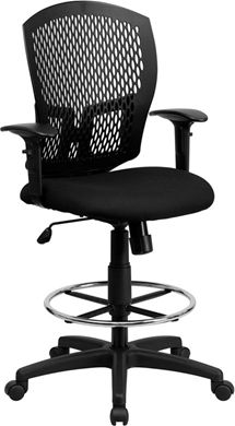 Picture of MID-BACK DESIGNER BACK DRAFTING STOOL WITH PADDED FABRIC SEAT AND ARMS