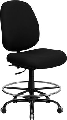 Picture of  400 LB. CAPACITY BIG AND TALL BLACK FABRIC DRAFTING STOOL WITH EXTRA WIDE SEAT