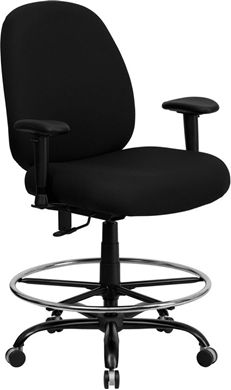 Picture of  400 LB. CAPACITY BIG AND TALL BLACK FABRIC DRAFTING STOOL WITH ARMS AND EXTRA WIDE SEAT