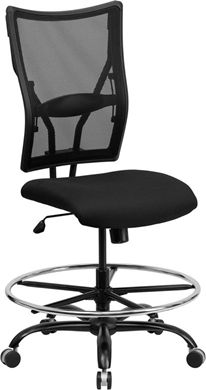 Picture of  400 LB. CAPACITY BIG & TALL BLACK MESH DRAFTING STOOL