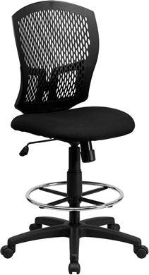 Picture of MID-BACK DESIGNER BACK DRAFTING STOOL WITH PADDED FABRIC SEAT