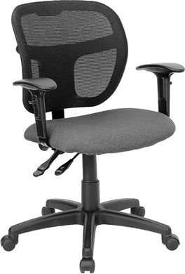 Picture of MID-BACK MESH TASK CHAIR WITH GRAY FABRIC SEAT AND ARMS