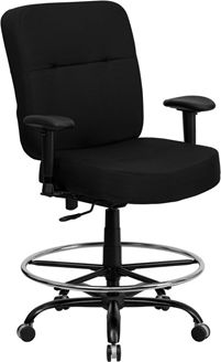 Picture of  400 LB. CAPACITY BIG & TALL BLACK FABRIC DRAFTING STOOL WITH ARMS AND EXTRA WIDE SEAT