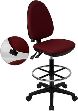 Picture of MID-BACK BURGUNDY FABRIC MULTI-FUNCTIONAL DRAFTING STOOL WITH ADJUSTABLE LUMBAR SUPPORT