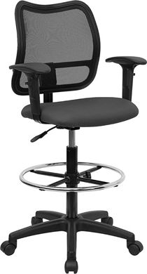 Picture of MID-BACK MESH DRAFTING STOOL WITH GRAY FABRIC SEAT AND ARMS