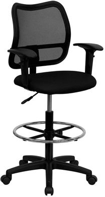 Picture of MID-BACK MESH DRAFTING STOOL WITH BLACK FABRIC SEAT AND ARMS