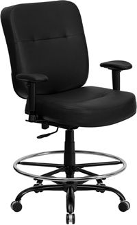 Picture of 400 LB. CAPACITY BIG & TALL BLACK LEATHER DRAFTING STOOL WITH ARMS AND EXTRA WIDE SEAT