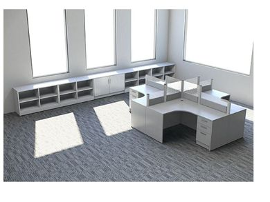 Picture of Cluster of 4 Person L Shape Office Desk Workstation with Low Wall Storage Filing