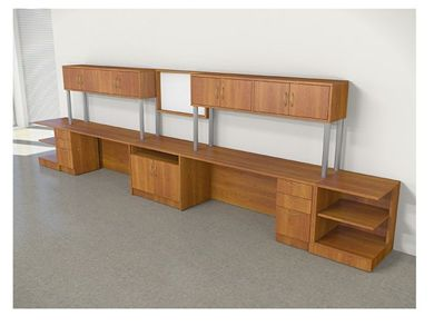 Picture of 2 Person Kneespace Credenza Storage with Closed Overhead and Whiteboard