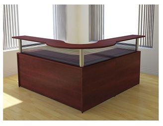 "Picture of 72"" L Shape Curve Reception Desk Workstation"