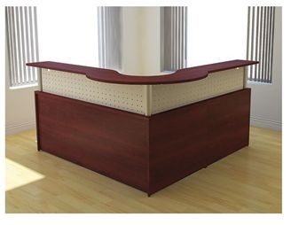 "Picture of 72"" L Shape Curve Reception Desk Workstation"