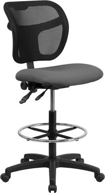 Picture of MID-BACK MESH DRAFTING STOOL WITH GRAY FABRIC SEAT