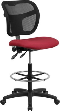 Picture of MID-BACK MESH DRAFTING STOOL WITH BURGUNDY FABRIC SEAT AND ARMS