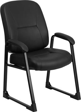 Picture of  BIG & TALL 400 LB. CAPACITY BLACK FAUX LEATHER SIDE CHAIR WITH SLED BASE