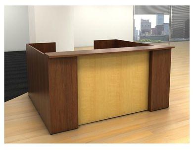 Picture of U Shape Reception Office Desk Workstation with Filing Pedestal Cabinet