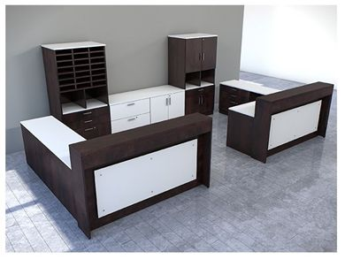 """Picture of 72"""" 2 Person L Shape Reception Desk Workstation with Lateral Storage Credenza Bookcase Filing"""
