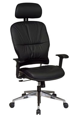 Picture of Leather Managers Chair with Polished Aluminum Base and Adjustable Headrest