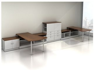 Picture of 2 Person Shared Office Desk Workstation with Storage Cabinets