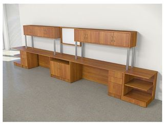 Picture of 2 Person Office Desk Workstation with Overhead Storage